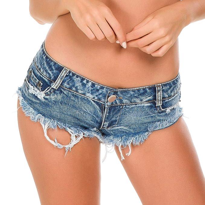 06fbedd40149 Bill&Candy Women's Sexy Hot Pants Low Waist Rise Side Straps Cheeky Mini  Denim Shorts Clubwear (