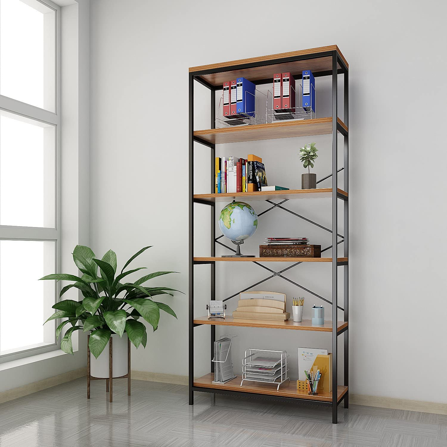 Kemanner 5-Tier Industrial Style Bookcase, Vintage Free Standing Bookshelf, Rustic Wood Bookcases Furniture (Brown-1)