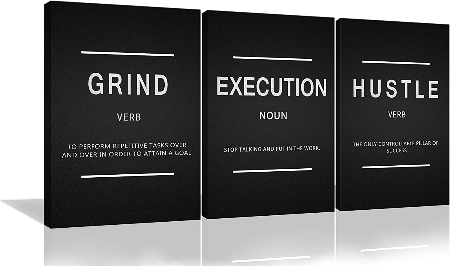 Large Success Quote Inspirational Wall Art Motivational Grind Hustle Execution Painting Entrepreneur Office Posters Prints Canvas Artwork 3 Panels Wall Decor for Office Framed Ready to Hang- 24