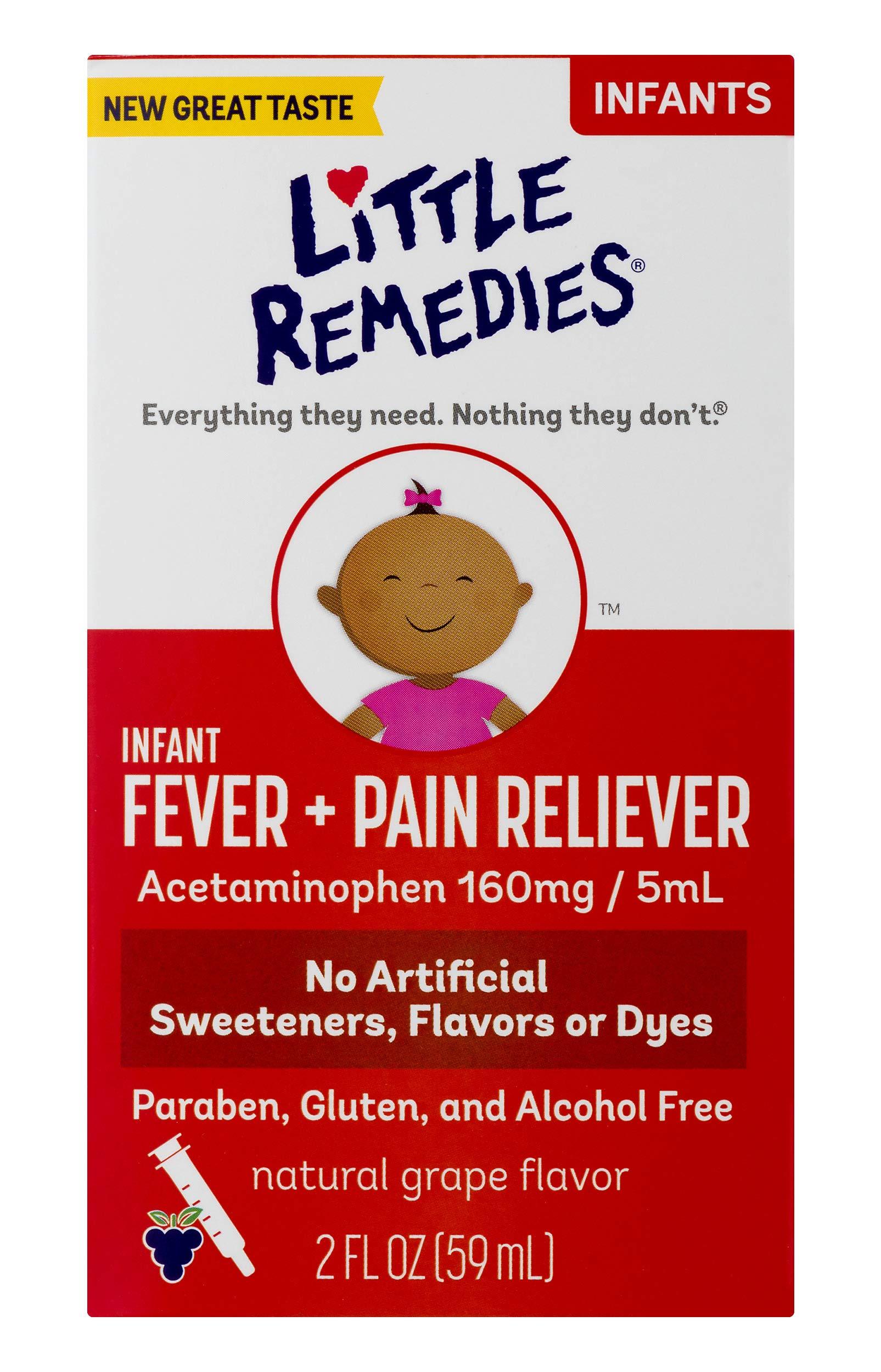 LittleRemedies Infant Fever & Pain Reliever withAcetaminophen| Grape | 2 FL OZ