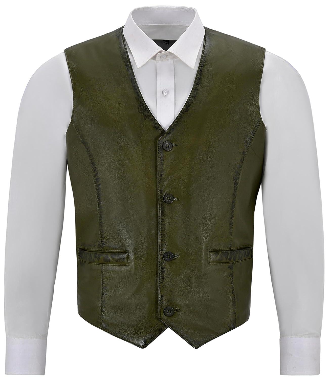 Mens Real Olive Green Leather Waistcoat Party Fashion Stylish Napa Leather Vest 5226