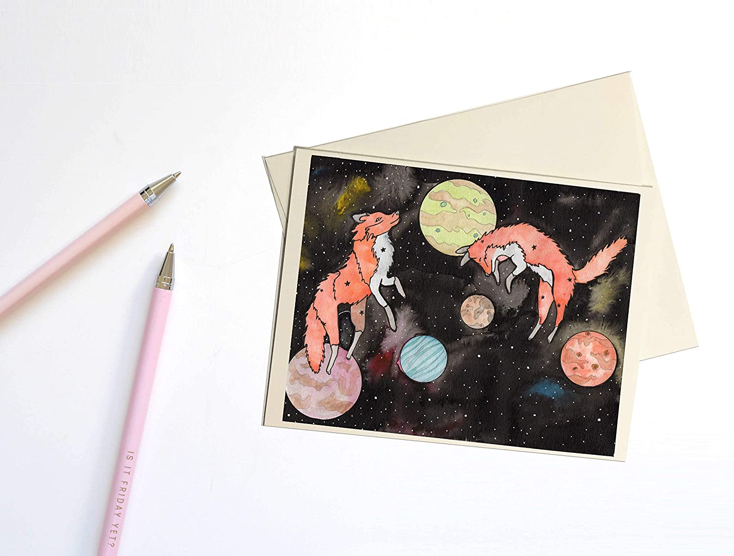 Star Foxes Constellation Inspired Watercolor Print Handmade Note Card