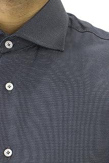 CARILLO CAMICIE Camicia Uomo Manica Lunga Slim Fit con Collo Francese Tinta Unita Nido d'Ape Grigio Scuro
