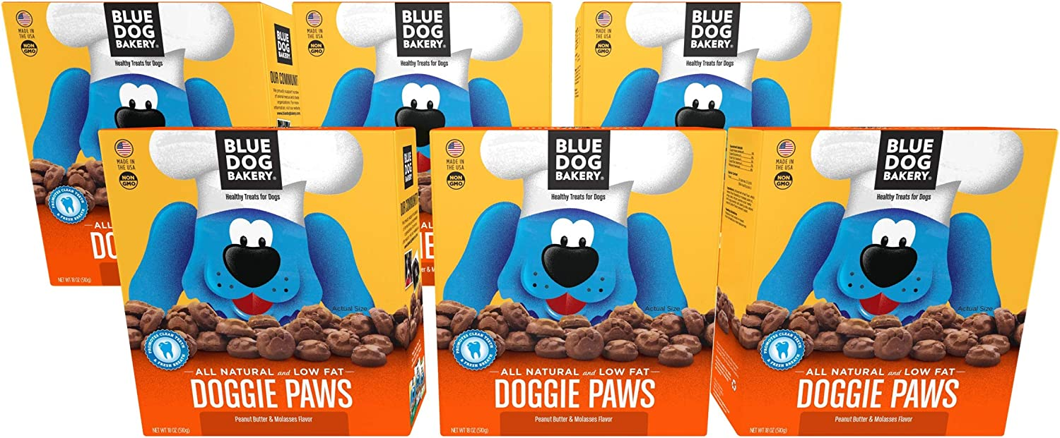 Blue Dog Bakery Natural Dog Treats, Doggie Paws, Original, Peanut Butter Molasses Flavor