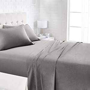 AmazonBasics 1100TC Luxury Easycare Sheet Set - King, Dark Grey