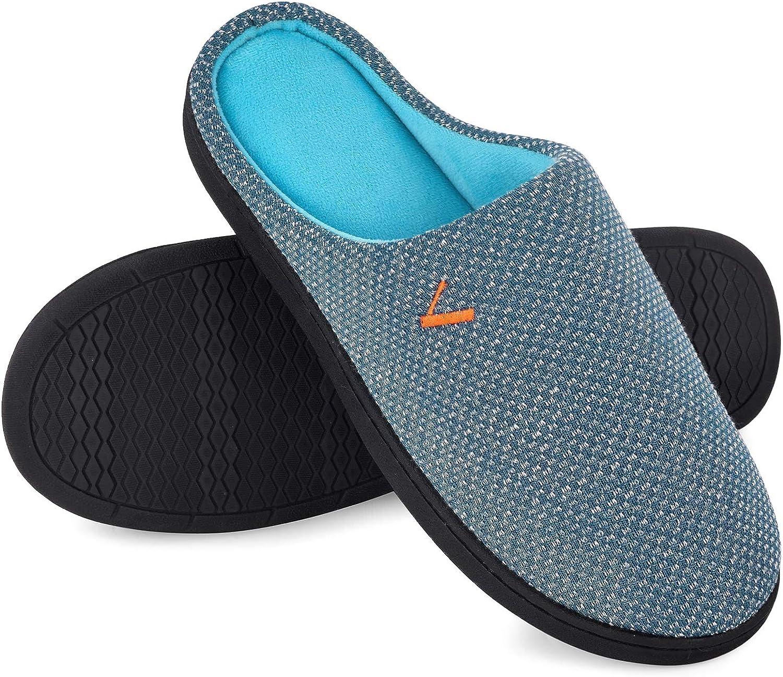 VONMAY Men's Slip On Slippers Two-Tone Memory Foam Warm House Shoes Lightweight Non-Slip Indoor Outdoor