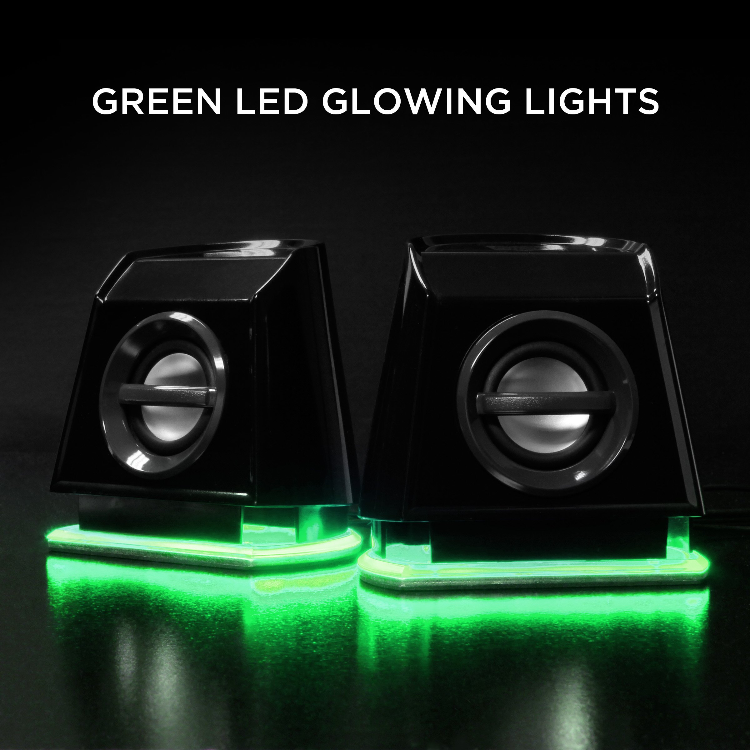 GOgroove 2MX LED Computer Speakers with Powered Subwoofer, Green Glowing Lights and Stereo Sound - Wired 3.5mm Audio Input Connection, USB Powered for PC, Desktop and Laptop Computers by GOgroove (Image #3)