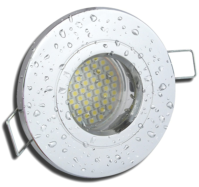 8 Stück IP54 SMD LED Bad Einbaustrahler Rain 12 Volt 5 Watt Chrom glänzend Warmweiß