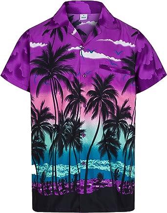 Redstar Fancy Dress - Camisa Hawaiana de Manga Corta - para Hombre - Palmeras - Todas Las Tallas - Morado - XL: Amazon.es: Ropa y accesorios