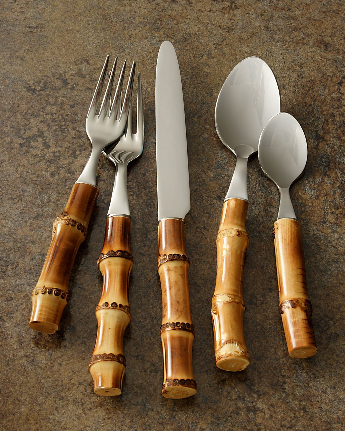Natural Bamboo Flatware 5-Piece Place Setting