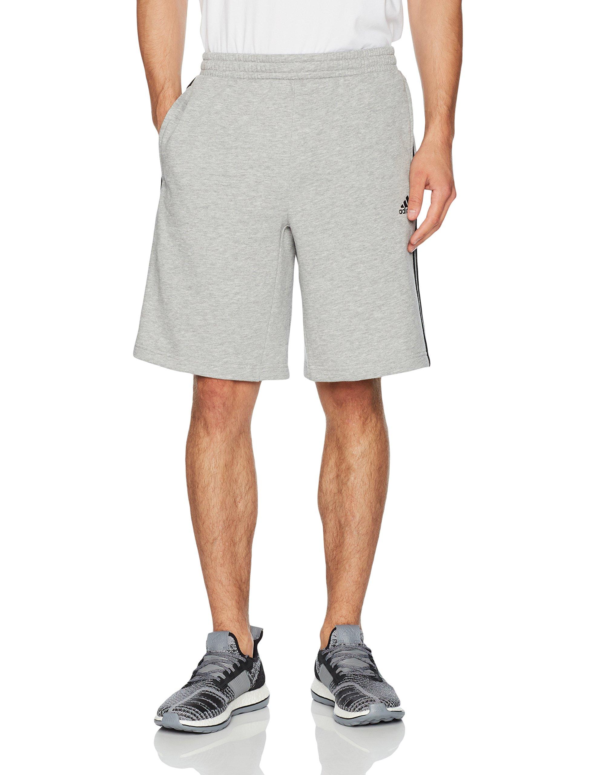 adidas Men's Athletics Essential Cotton Shorts, Medium Grey Heather/Black, Large by adidas