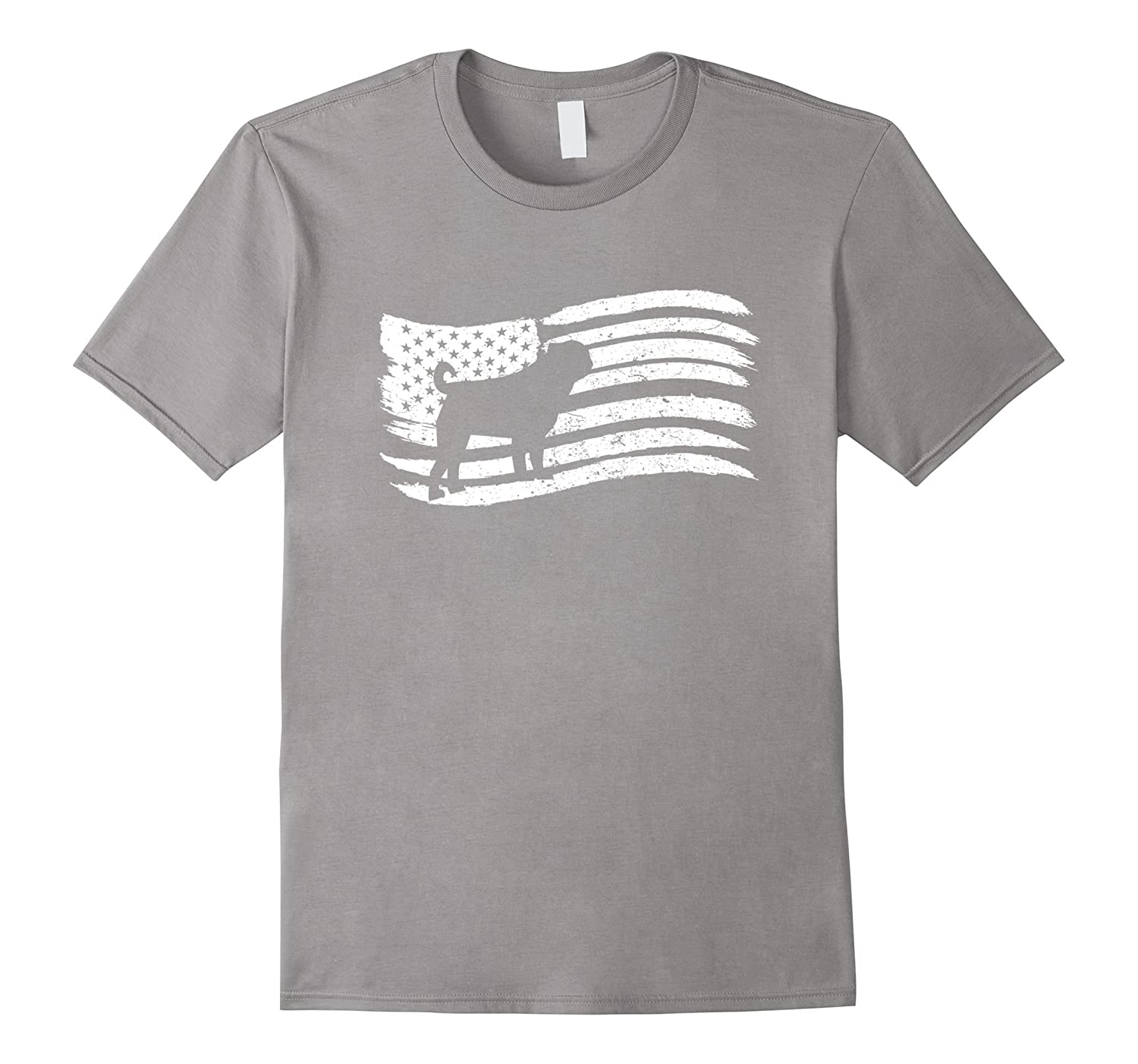 American Flag T-Shirt For Pug Owner Vintage Look-TH