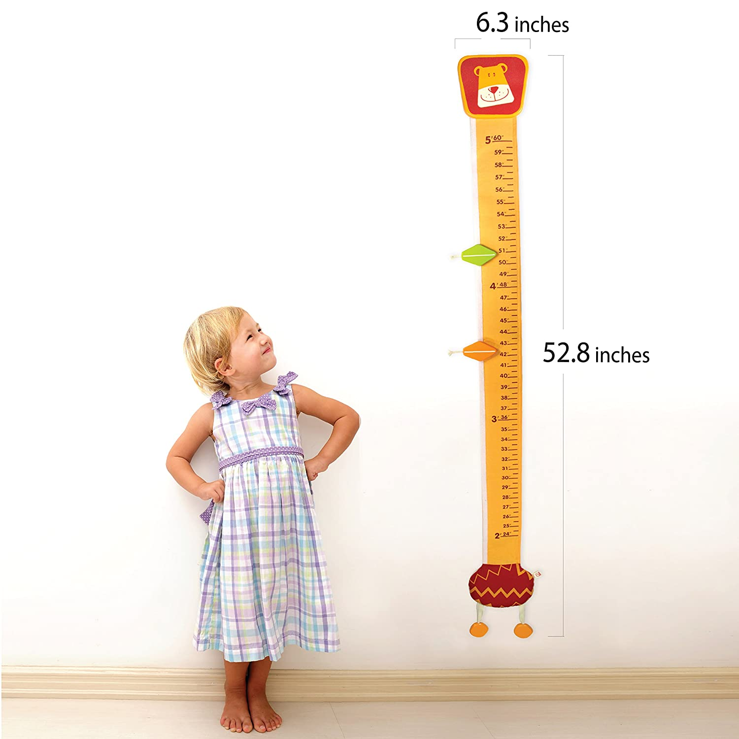 Im Wood And Fabric Wall Growth Chart Height Measurement Scale