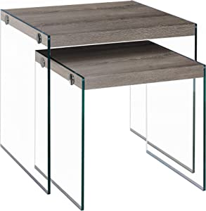 Monarch Specialties I 3053,Nesting Table, Tempered Glass, Dark Taupe