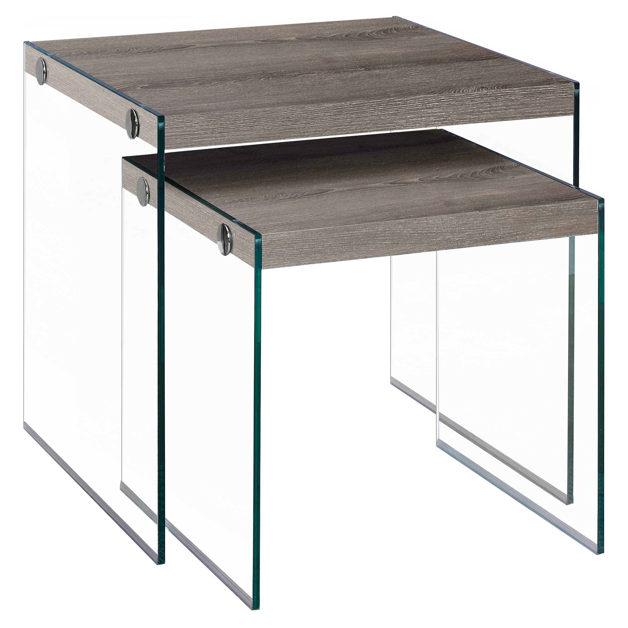 Monarch Specialties I 3053,Nesting Table, Tempered Glass, Dark Taupe by Monarch Specialties