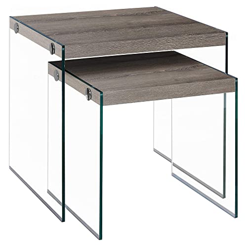 Monarch Specialties ,Nesting Table, Tempered Glass, Dark Taupe