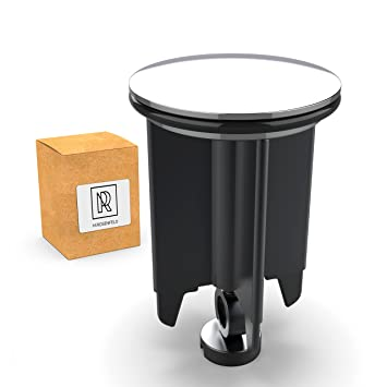 Premium Waschbeckenstöpsel 40mm Chrom – aus Messing, universaler Abflussstopfen mit Gummi für Waschbecken im Bad und Bidets -