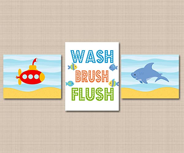 Amazoncom Submarine Shark Kids Bathroom Wall Artsea Animals