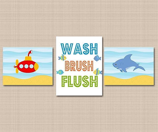 Submarine Shark Kids Bathroom Wall Art,Sea Animals Bathroom Wall Art,Whale Fish  Bathroom