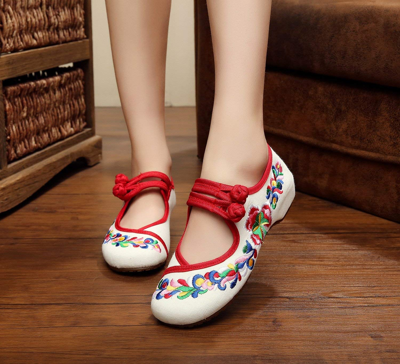 Fuxitoggo Bestickte Schuhe Sehnensohle Stoffschuhe ethnischer Stil weibliche Stoffschuhe Sehnensohle Mode bequem Tanzschuhe weiß 38 (Farbe   - Größe   -) eab80a
