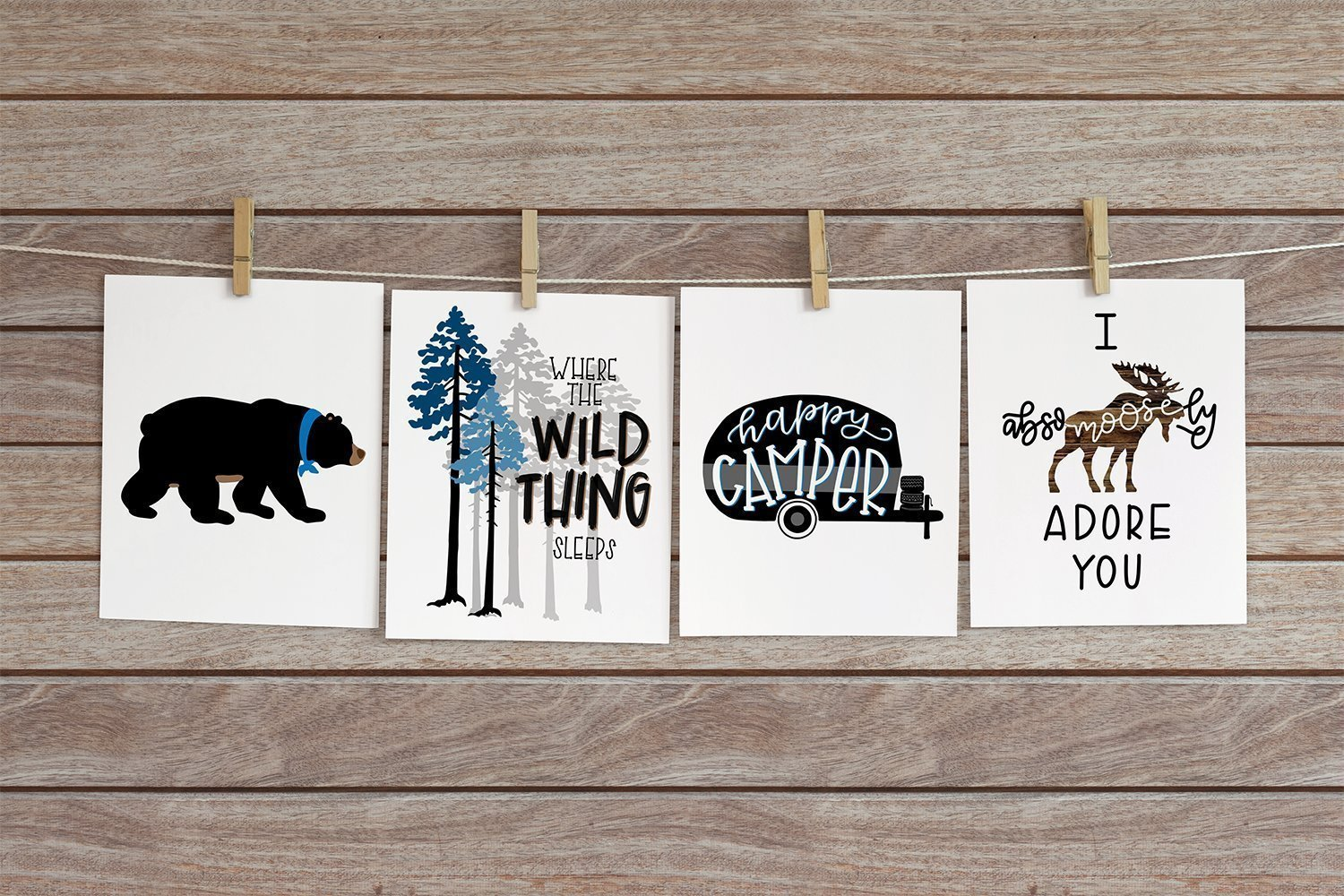 Set of 4 Woodland Animal Nursery Cardstock Prints - 8.5 x11'' Where The Wild Thing Sleeps, Black Bear, Happy Camper, Absomoosely Adore You