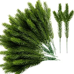 Alpurple 45 Packs Artificial Pine Needles Branches Garland-10.2x2.5 Inch Green Plants Pine Needles,Fake Greenery Pine Picks for DIY Garland Wreath Christmas Embellishing and Home Garden Decoration