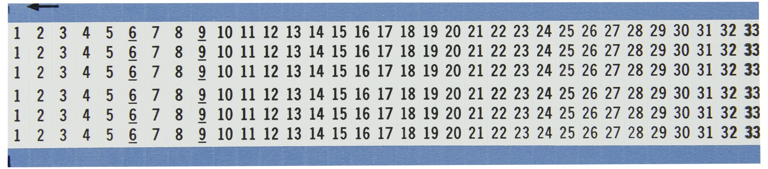 Brady WM-1-33-VP Repositionable Vinyl Cloth (B-500), Black on White, Consecutive Numbers Wire Marker Card (5 Cards)