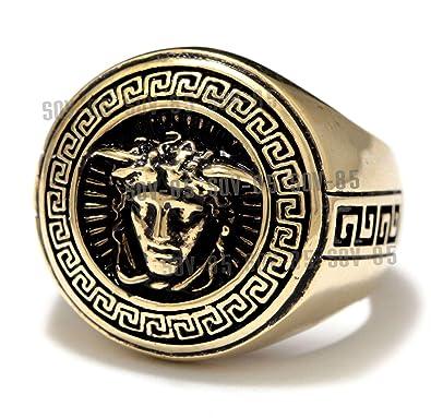 9f5de1dfae Master Product, Brass Ring Medusa Signet Ring Medusa Signet Ring Brass  Black Oxidized