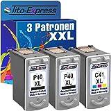 PlatinumSerie® Set 3x Druckerpatrone für Canon PG-40 XL & CL-41 XL Pixma MP450 IP2200 IP2500 IP2600 MP140