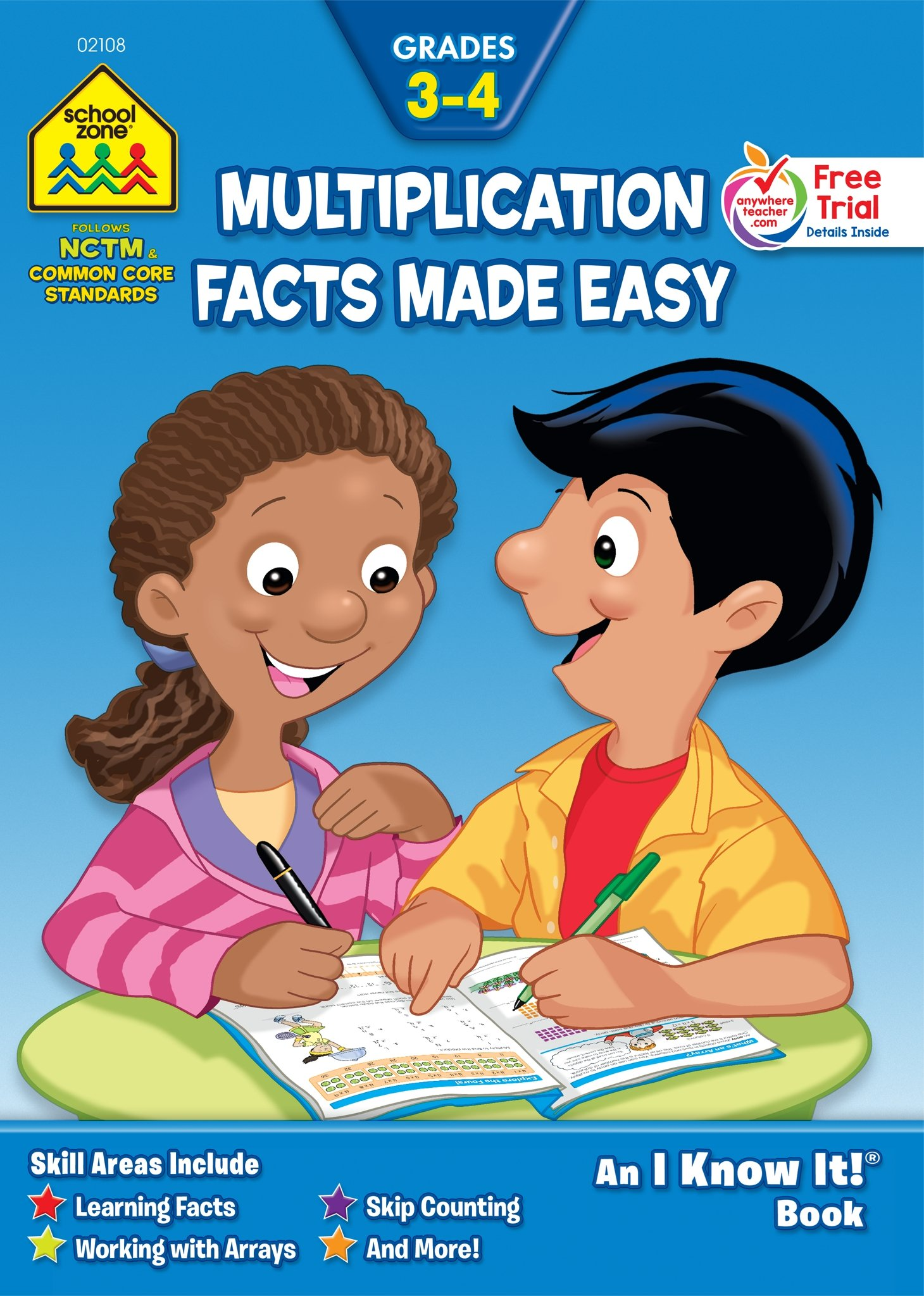 SCHOOL ZONE - Multiplication Facts Made Easy 3-4 Workbook, Grades 3 to 4, I Know It!®, Ages 8 to 10, Multiplication, Multiplication Tables, Factors, and More!