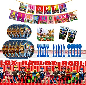 Ro-blox Game Theme Birthday Party Supplies, Gaming Theme Party Decorations Set include Tablecover, Plates, Knives, Spoons, Forks, Cups, Happy Birthday Banner, Napkins for Video Game Fans Birthday Party Decorations