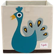 3 Sprouts Organizer Container Cube Storage Box for Kids & Toddlers, Peacock