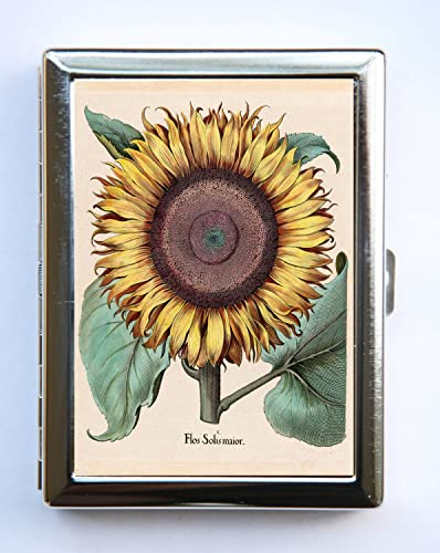 sunflower flower cigarette case wallet business card holder botanical floral