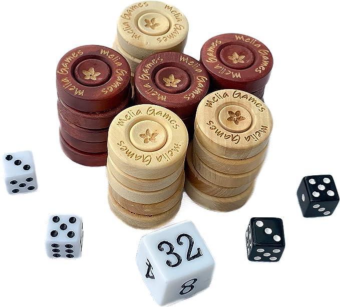 Contenir D/és et Poche en Cuir V/éritable Nubuck 22mm Set de Remplacement Couleur: Whiskey Pions en Buis Fait Main Melia Games Backgammon Accessories