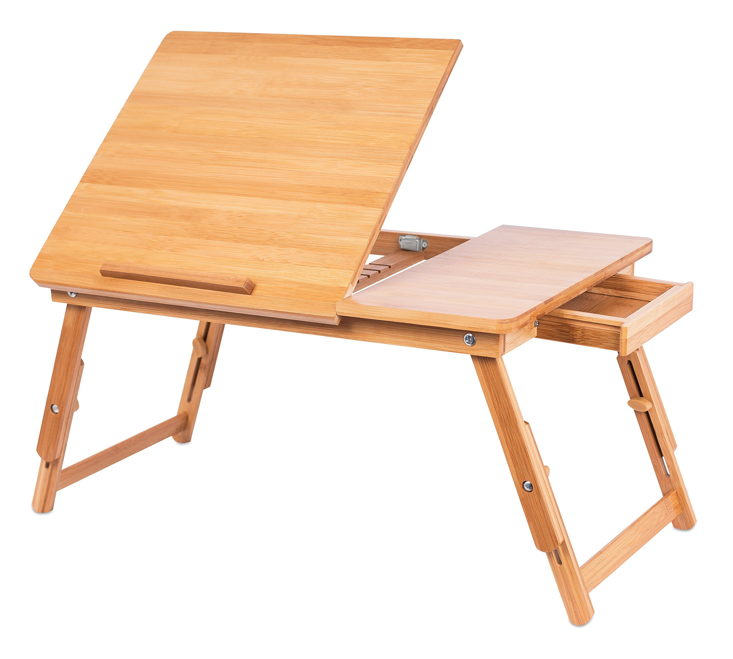Sofia + Sam Laptop Lap Tray with Adjustable Legs | Bamboo | Foldable Breakfast Serving Bed Tray | Lap Desk with Tilting Top and Side Drawer | Laptop Stand | Natural by Sofia + Sam (Image #4)