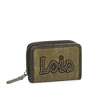 ee092fa8a Lois - Cartera Billetero Tarjetero Monedero de Mujer con Cremallera y  Cierre presión. 3 Compartimentos