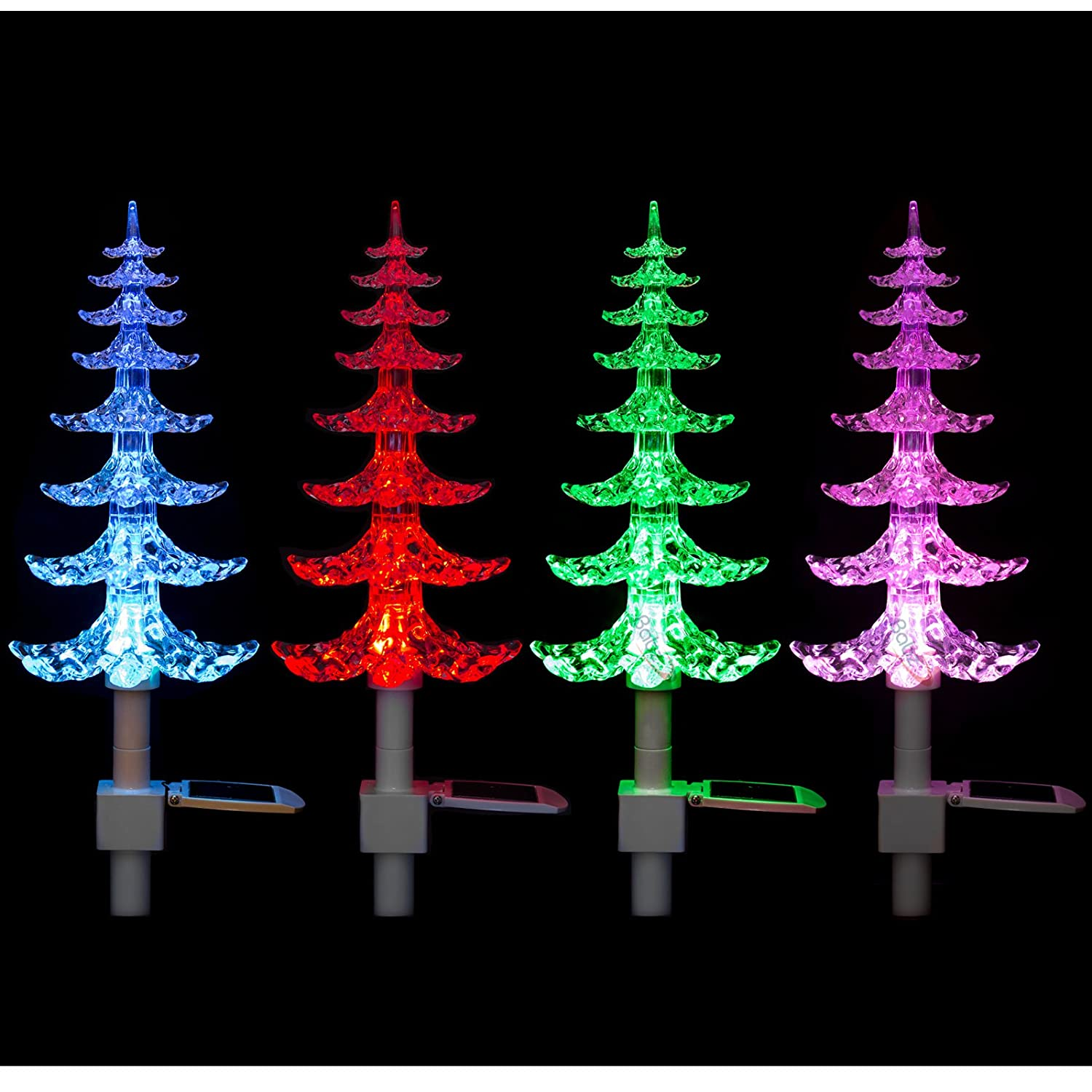 solar powered colour changing christmas tree with lights xmas amazoncouk lighting - Solar Powered Christmas Tree