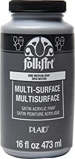 product image for FolkArt Multi-Surface Satin Acrylic Paint in Assorted Colors, 16 oz, Medium Gray 16 Fl Oz