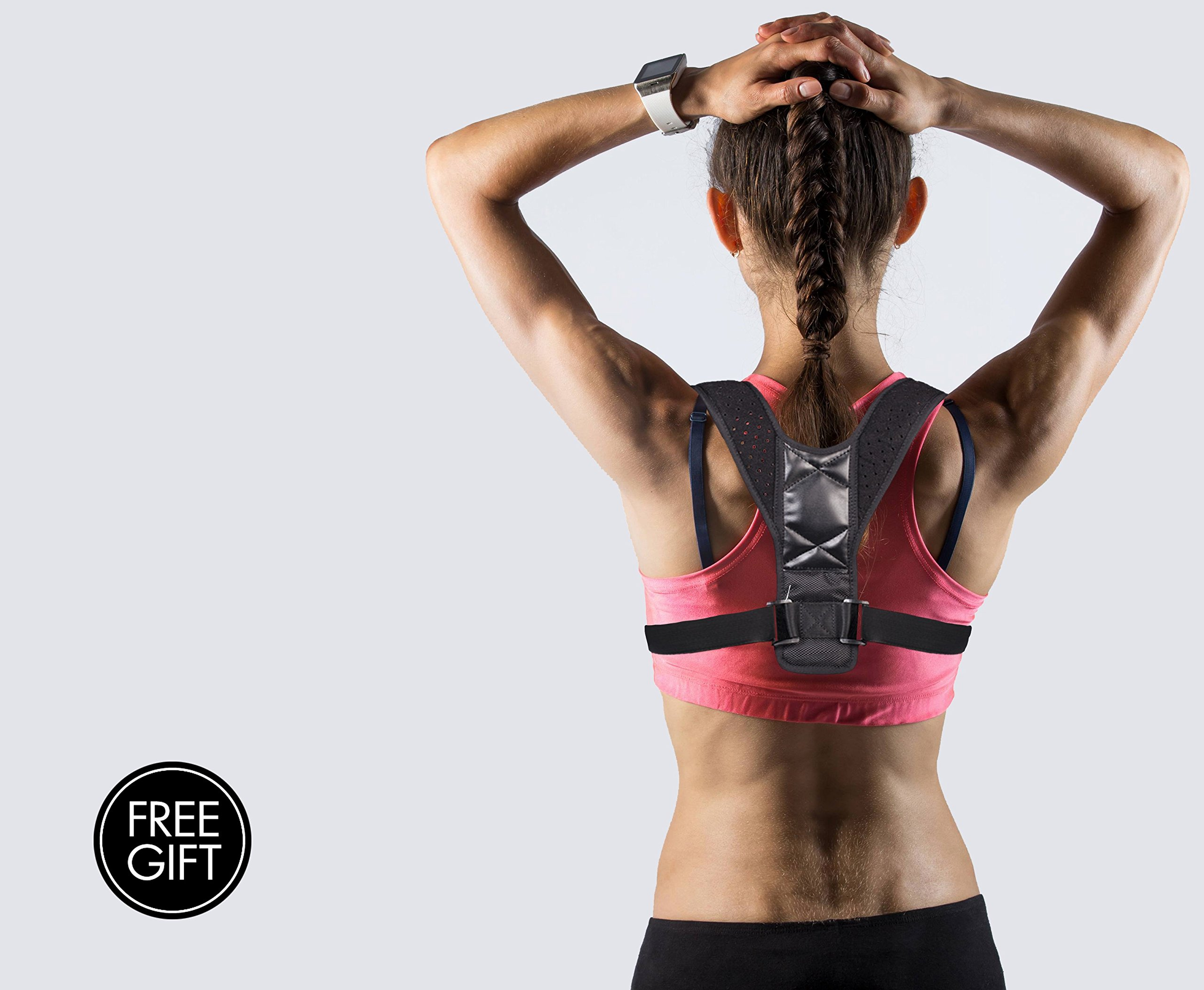 Posture Corrector Support for Women & Men – Fits 27'' to 48'' Chest Circumference – Effective and Comfortable Adjustable Posture Correct Brace – Upper Back Pain Relief - Free Resistance Band