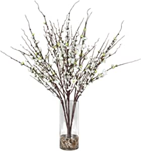 Uttermost 60128 Quince Blossoms 36 Silk Flower Centerpiece Natural Rock Finish With Clear Glass Constance Lael Linyard Home Kitchen Amazon Com