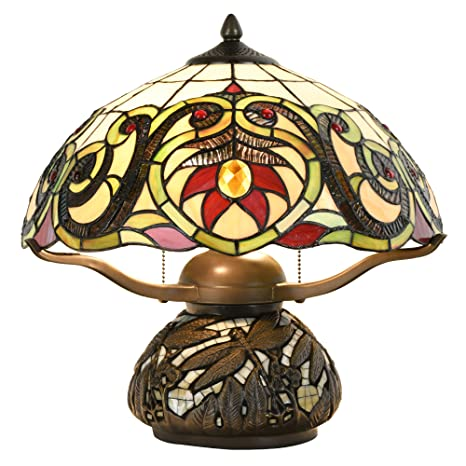 Cloud Mountain Tiffany Style Table Lamp Victorian Dragonfly Floral