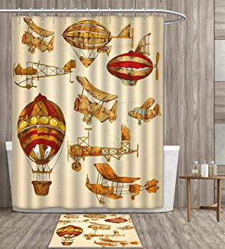 Aviation Shower Curtain Waterproof Vintage Old Flying Objects Hot Baloons Planes Parachutes Print Fabric Bathroom Decor