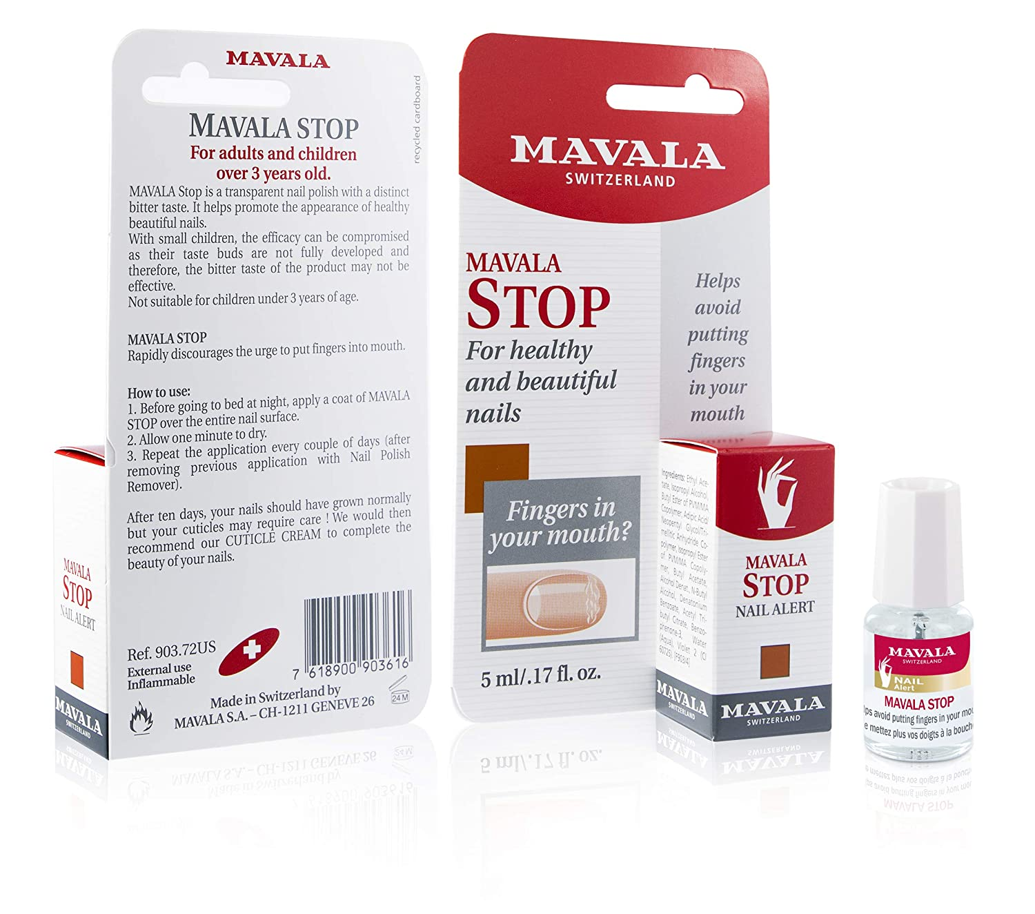 Mavala Stop Deterrent Nail Polish Treatment | Nail Care to Help Stop Putting Fingers In Your Mouth | For Ages 3+ | 0.17 oz : Nail Repair Products : Beauty