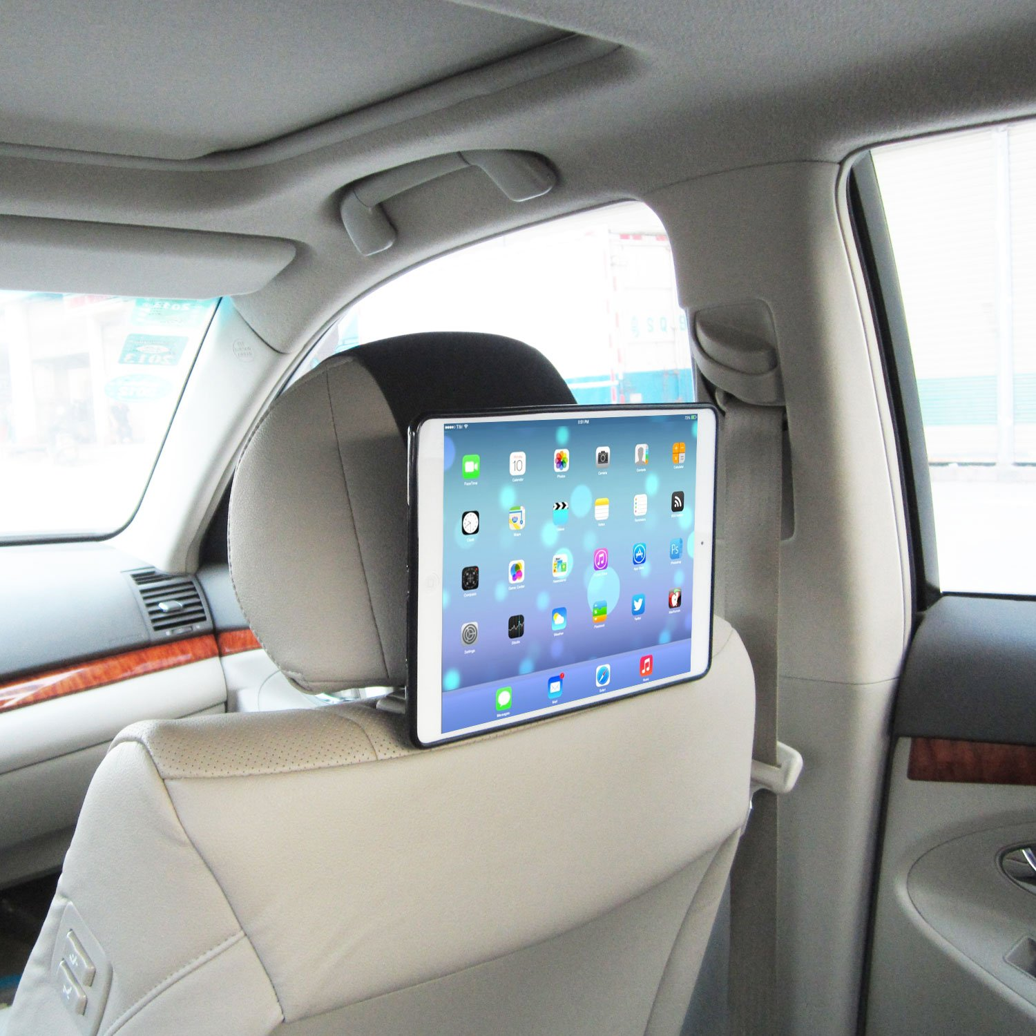 TFY Car Headrest Mount Holder for iPad Air, Fast-Attach Fast-Release Edition, Black IPAD5MOUNT_BLK