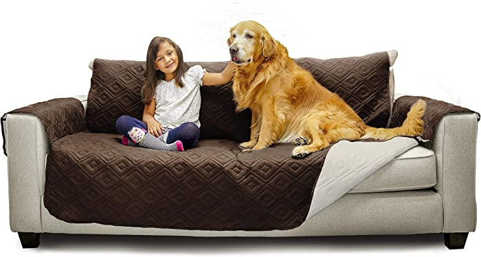 "Mary Maxim Furniture Covers - Quilted Couch Slipcover and Furniture Protector for Dogs, Cats, Pets, & Kids - Side Pockets, Elastic Strap & Water Resistant (70"" Sofa, Dark Brown & Beige)"