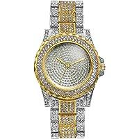 Men's Gold Watch Costume Hip Hop Luxury Bling Double Dual Rhinestone Bezel [Upgraded] Japan Quartz Movement 30M Waterproof Dress Casual Wrist Watch