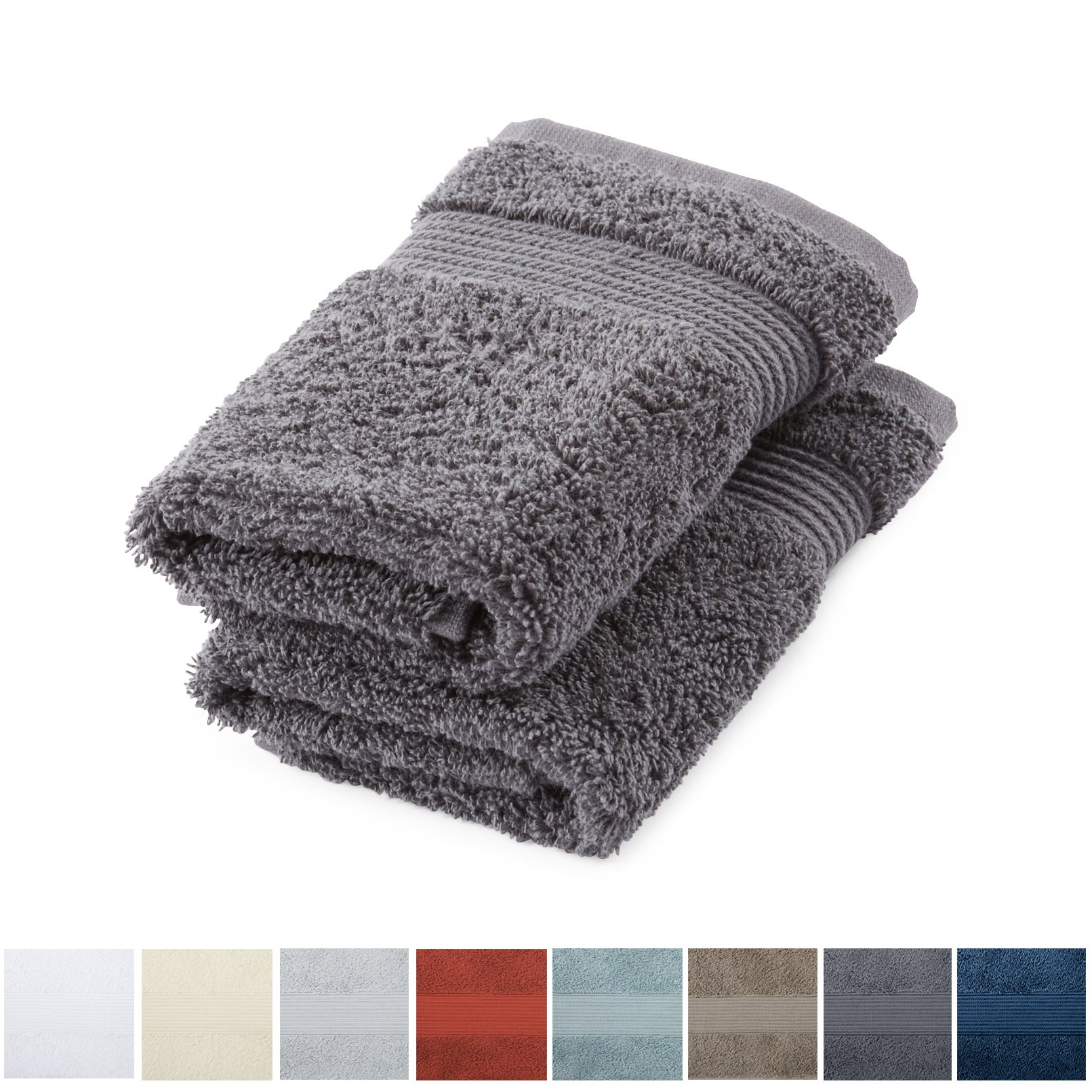 Great Bay Home 2-Pack Luxury Hotel/Spa 100% Turkish Cotton Washcloths, 600 GSM. Includes 2 Washcloths. Melanie Collection By Brand. (Washcloths (2x), Steel Grey)