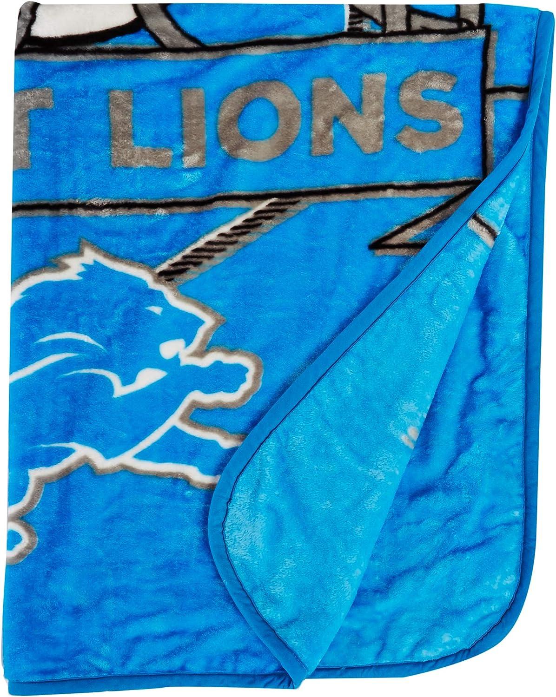 One Size Northwest NFL Detroit Lions 60x80 Raschel Prestige Design AlternateBlanket Team Colors