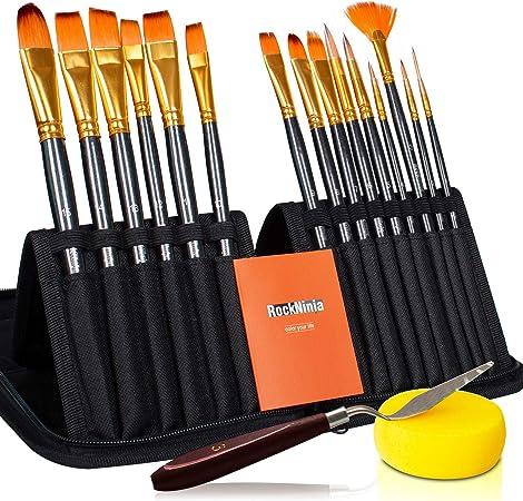 Rock Ninja de 15 piezas El juego de pinceles para pintar para artistas incluye estuche portátil con paleta y esponjas para acrílico, aceite, acuarela, pintura corporal creativa Espera: Amazon.es: Hogar