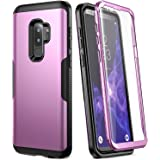 Galaxy S9+ Plus Case, YOUMAKER Metallic Purple with Built-in Screen Protector Heavy Duty Protection Shockproof Slim Fit Full Body Case Cover for Samsung Galaxy S9 Plus 6.2 inch (2018) - Purple/Black